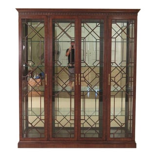 Henredon Large 4 Door Mahogany Lighted Curio Cabinet For Sale