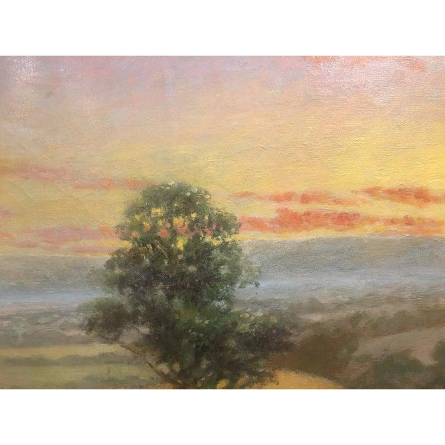 """Sky Blue British Oil on Canvas """"Valley of the Rothe"""" by F. M. de la Coze, 20th Century For Sale - Image 8 of 10"""