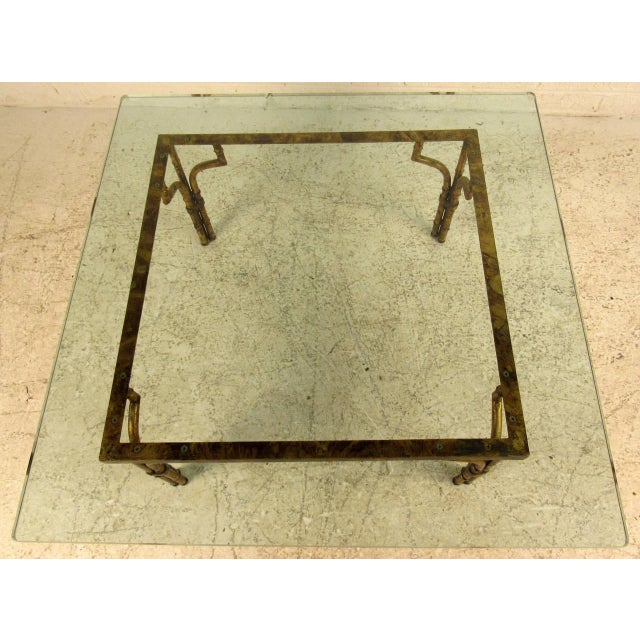 Modern Vintage Hollywood Regency Coffee Table in Gilt Finish For Sale - Image 3 of 7
