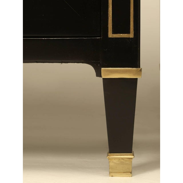 Gold Matching Louis XVI Ebonized Buffets With Marble Tops - a pair For Sale - Image 7 of 10