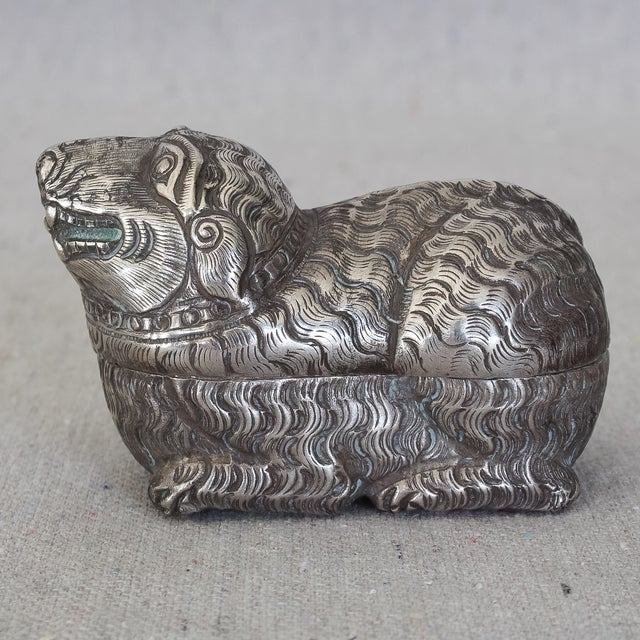 Antique Asian sterling silver betel nut box in the shape of a rat. Finely detailed in the tradition of Cambodian Khmer...