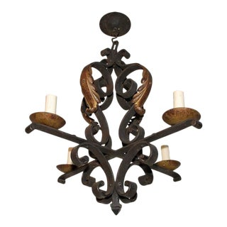 French 1920s Wrought Iron Chandelier For Sale