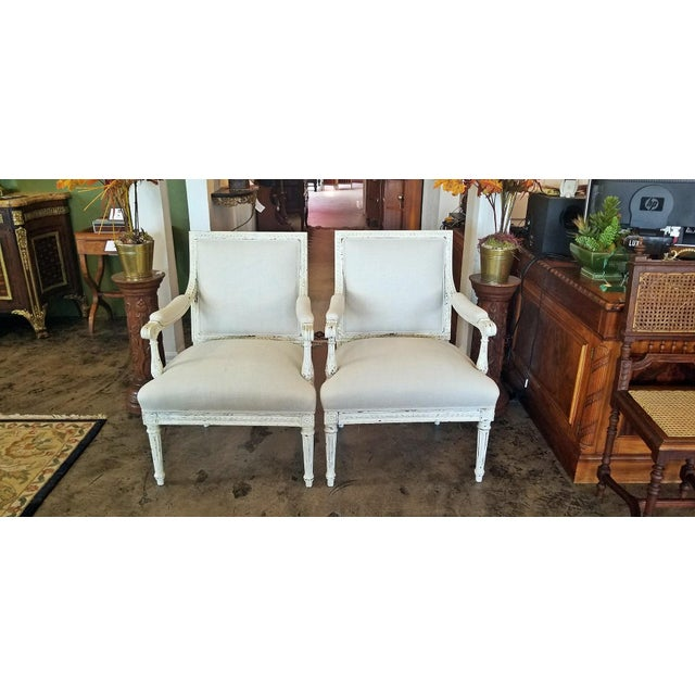 Louis XVI Style Pair of Painted Armchairs For Sale - Image 11 of 12