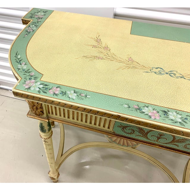 Signed Maitland Smith hand painted console table in cream and blue/green with gold gilt and floral detail. Can be used as...