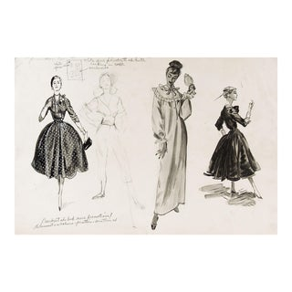 1950's Fashion Drawing Studies For Sale