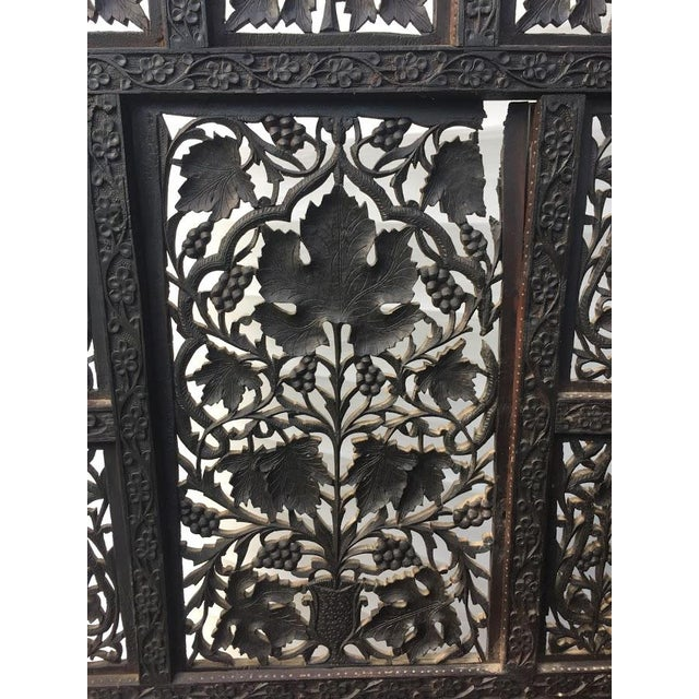 Brown 4-Panel East Indian Hand Carved Wood Screen Divider For Sale - Image 8 of 13
