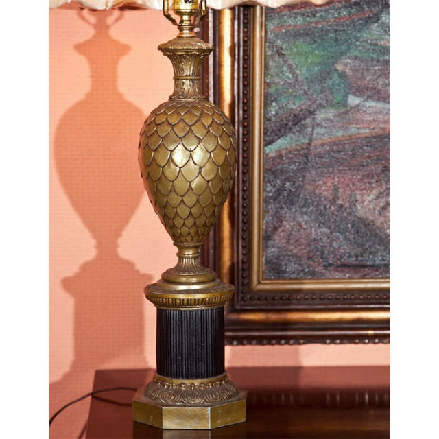 Bronze Pineapple Urn Form Table Lamps - Pair - Image 3 of 4