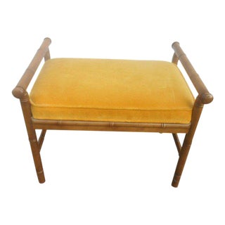1960 Hollywood Regency Faux Bamboo Window Bench