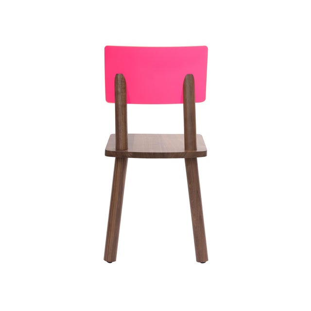 Contemporary AC/BC Chair (Acrylic Back), Solid Walnut with Pink Finish Acrylic Back For Sale - Image 3 of 4