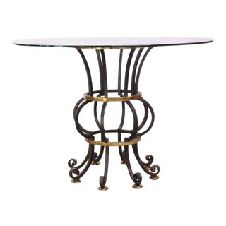 Hollywood Regency Style Brass and Steel Center Table For Sale