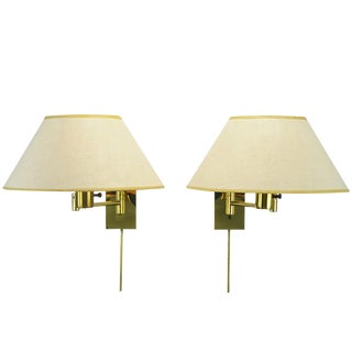 Pair of Walter Von Nessen Brass Swing-Arm Wall Lamps For Sale