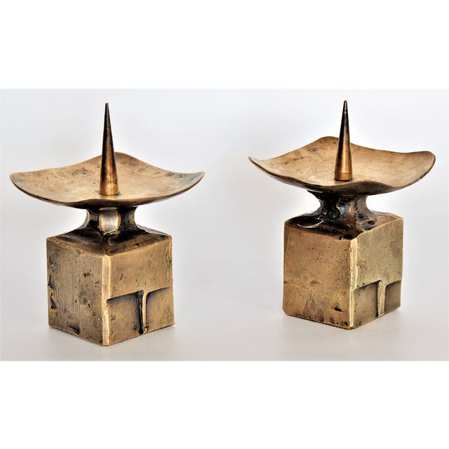 Weiland Basel Switzerland Brutalist Brass Candle Holders - a Pair- Mid Century Scandinavian Modern Candlesticks Millennial - Image 2 of 11