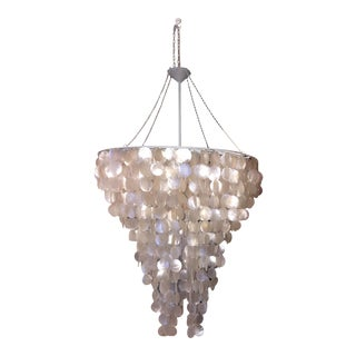 Worlds Away Large Round Natural Capiz Shell Chandelier For Sale