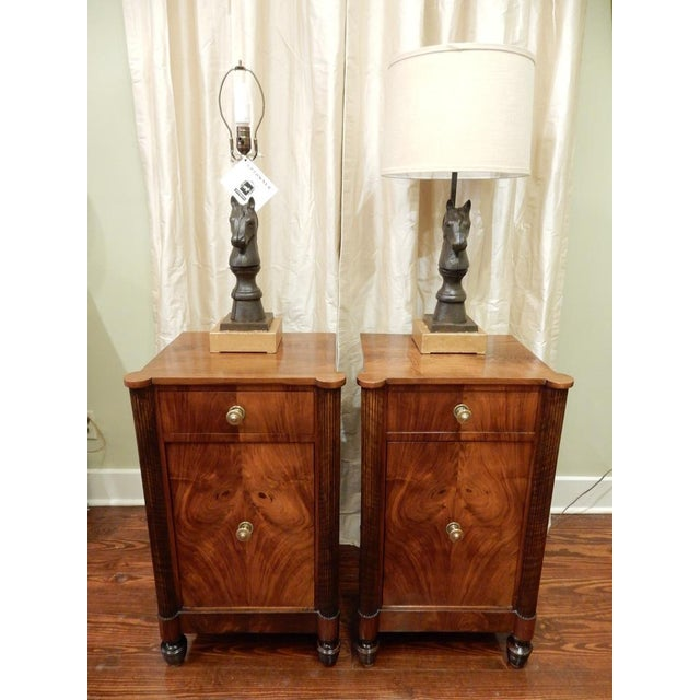 Pair of 19th C Charles X French Walnut Bedside Cabinets For Sale - Image 10 of 11