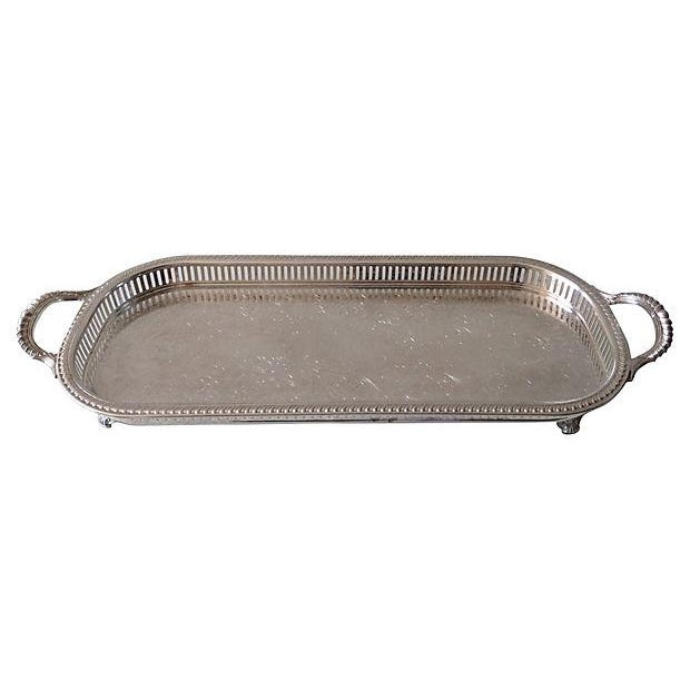 Silver Plate Reticulate Long Server Tray - Image 3 of 7
