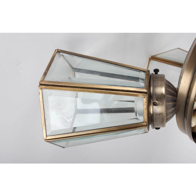 Metal Pair of 3-Lamp Brass Ceiling Fixtures With Glass Shades For Sale - Image 7 of 7