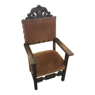 Spanish Carved Wood Chair With Velvet Upholstery