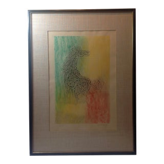 Vintage Mid Century Embossed Paper & Crayon Original Hand Colored Print by Hoi Lebadang For Sale