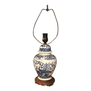 1970s Asian Blue and White Peasant Lamp