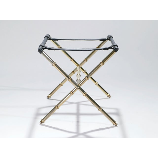 Mid-Century Modern Jacques Adnet Leather and Brass Side Table With Tray, 1950s For Sale - Image 3 of 13