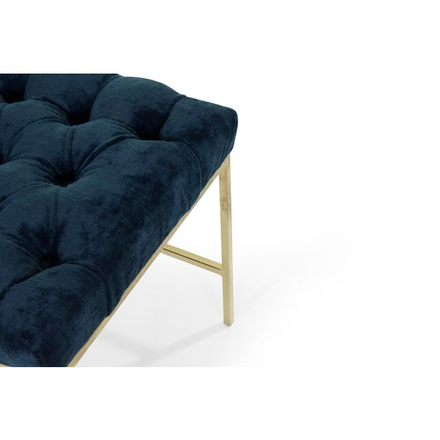 Contemporary 1950s Modern Tufted Brushed Brass Stools - a Pair For Sale - Image 3 of 12
