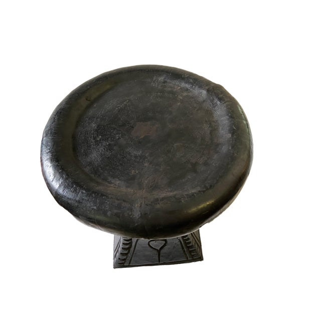 "Old African Bamileke Low Round Stool/Table Cameroon 14.75"" H For Sale - Image 4 of 9"