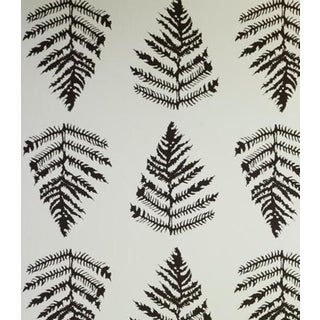 Erica Tanov Fern Wallpaper in Cream + Chocolate - 1 Roll For Sale