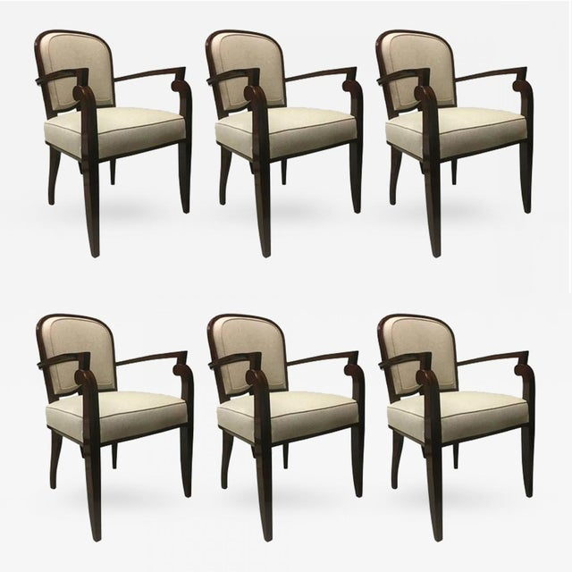 Tan Jules Leleu Chicest Rare Set of Six Dining Chairs Newly Covered For Sale - Image 8 of 8