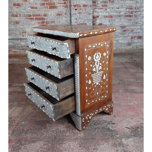 Brown Syrian Beautiful Mother-Of-Pearl Inlay Chests Nightstands - A Pair For Sale - Image 8 of 11