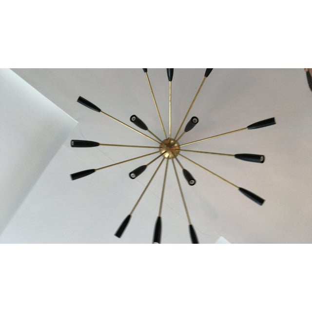 """""""Sputnik"""" Custom Brass/Black Flush Mount Chandelier For Sale - Image 4 of 7"""