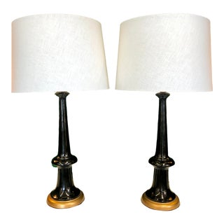 Black & Gold Ceramic Lamps, Pair For Sale