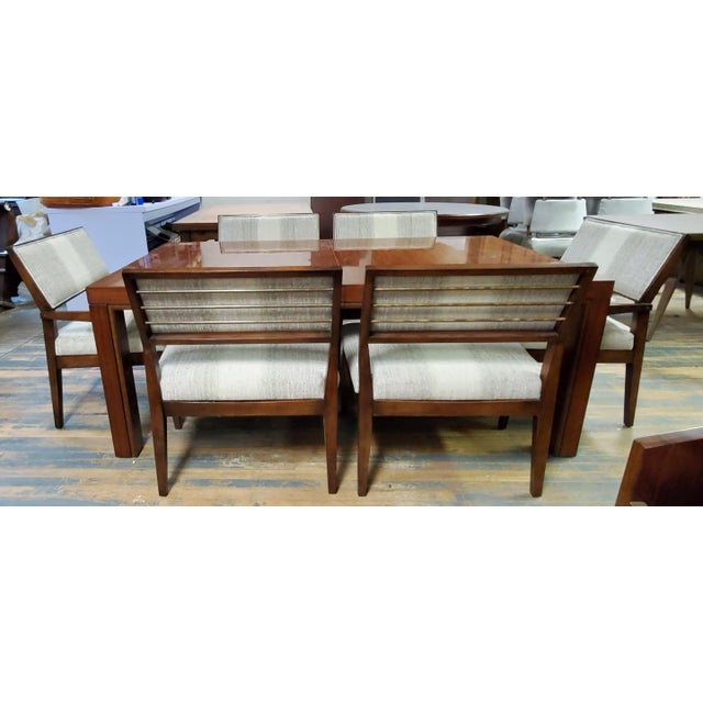 Henredon Furniture Venue Walnut Mid-Century Modern Dining Table & Chair Set For Sale - Image 9 of 12