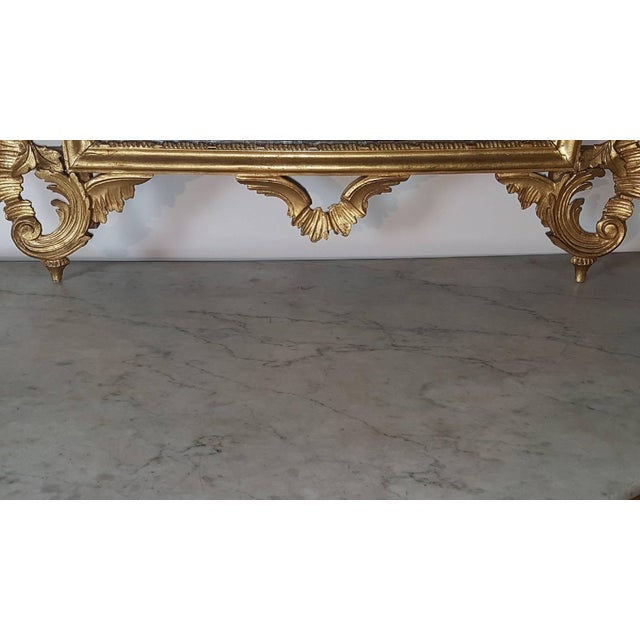 Wood 20th Century Italian Baroque Style Carved Gilded Wood Console Table With Mirror For Sale - Image 7 of 11