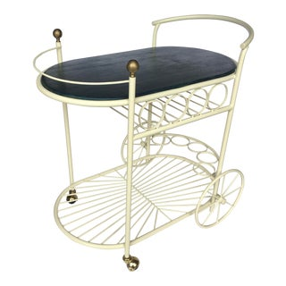 1950's Mid Century Modern Wrought Iron Rolling Bar Cart For Sale