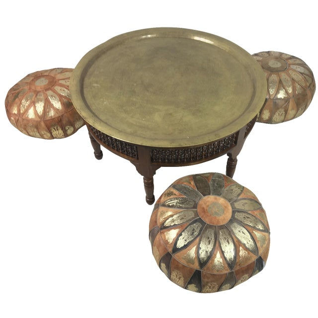 Morrocan Tray Table & Leather Poufs - Image 1 of 8