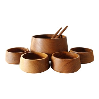 7 Piece Dolphin Teak Salad Serving Set Bowls Danish Modern Mid Century Modern For Sale