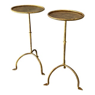 Vintage Spanish Gilt Iron Martini Tables - a Pair For Sale