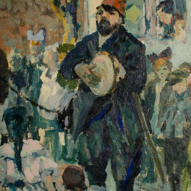 """1920s """"Performing Bear"""" Rustic European Village Scene Oil Painting by Richard Bloos For Sale - Image 10 of 11"""