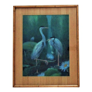 1950s Chinese Motif Pastel Painting Cranes Birds Signed Margery Stocking Hart For Sale