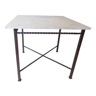 Late 20th Century Vintage Iron & Marble Table For Sale