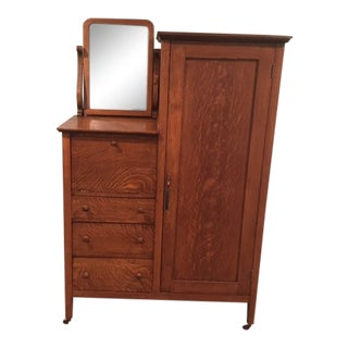 1800's Oak Armoire With Desk and Mirror For Sale