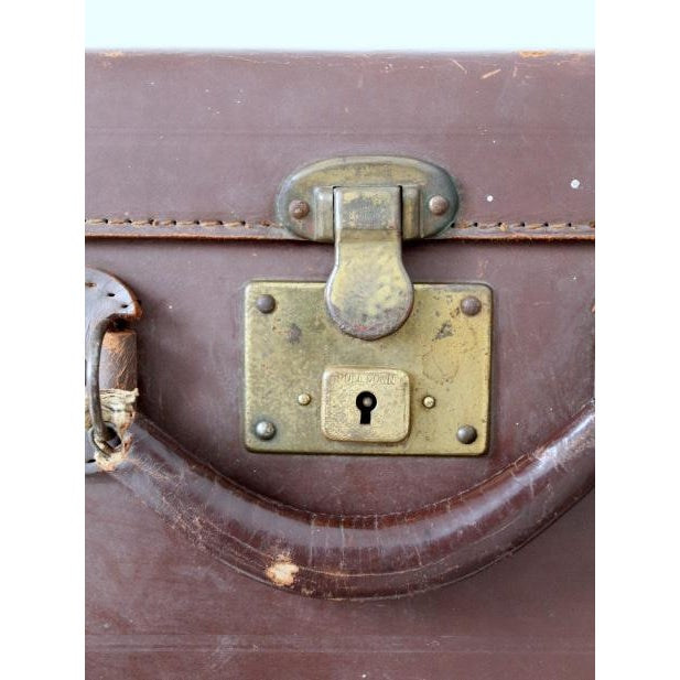 Vintage Brown Leather Suitcase For Sale - Image 6 of 8