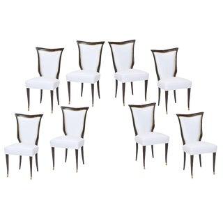 Set of Eight Italian Modern Palisander and Brass Dining Chairs, Osvaldo Borsani For Sale