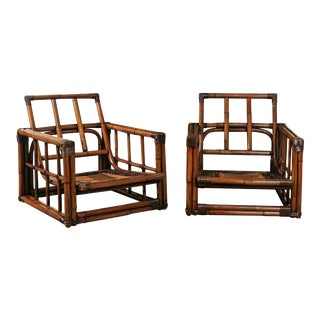 A Warm and Mellow Restored Pair of Cube Loungers by Ficks Reed, Circa 1970