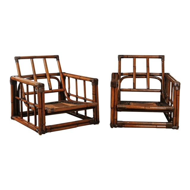 A Warm and Mellow Restored Pair of Cube Loungers by Ficks Reed, Circa 1970 For Sale