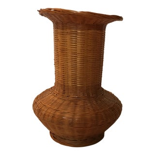 Vintage Wicker and Glass Vase