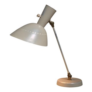 Hans Bergström for Lyktan White Metal Adjustable Desk Lamp, Sweden, 1950s For Sale