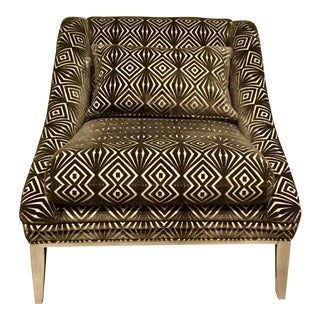 Vangaurd Co. Modern Geometric Chocolate Brown Cut Velvet Chair For Sale