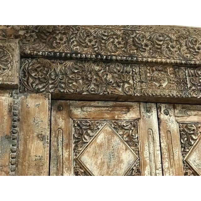 Late 19th Century Antique Indian Teak Door and Frame From a Rajasthan Haveli For Sale - Image 5 of 6