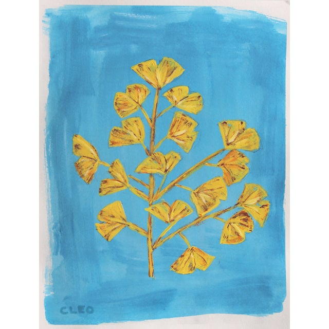 Apricot Botanic Contemporary Tropical Leaves Painting by Cleo Plowden For Sale - Image 8 of 9